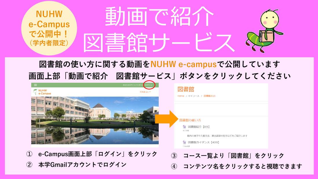 図書館の使い方に関する動画をNUHW e-campusで公開しています 画面上部「動画で紹介 図書館サービス」ボタンをクリックしてください